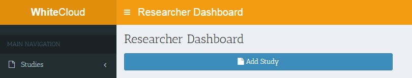The button to add a study is on the Researcher Dashboard